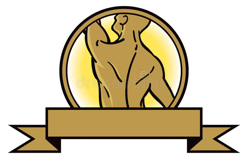 Back Muscle Logo. A logo icon showing a muscular back in gold royalty free illustration