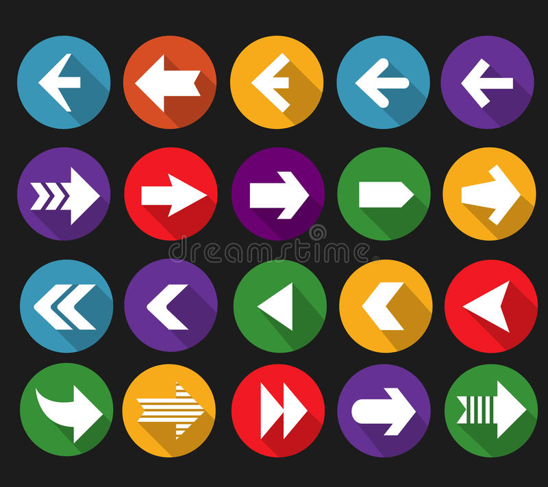Back and next arrow flat icons with long shadows royalty free illustration