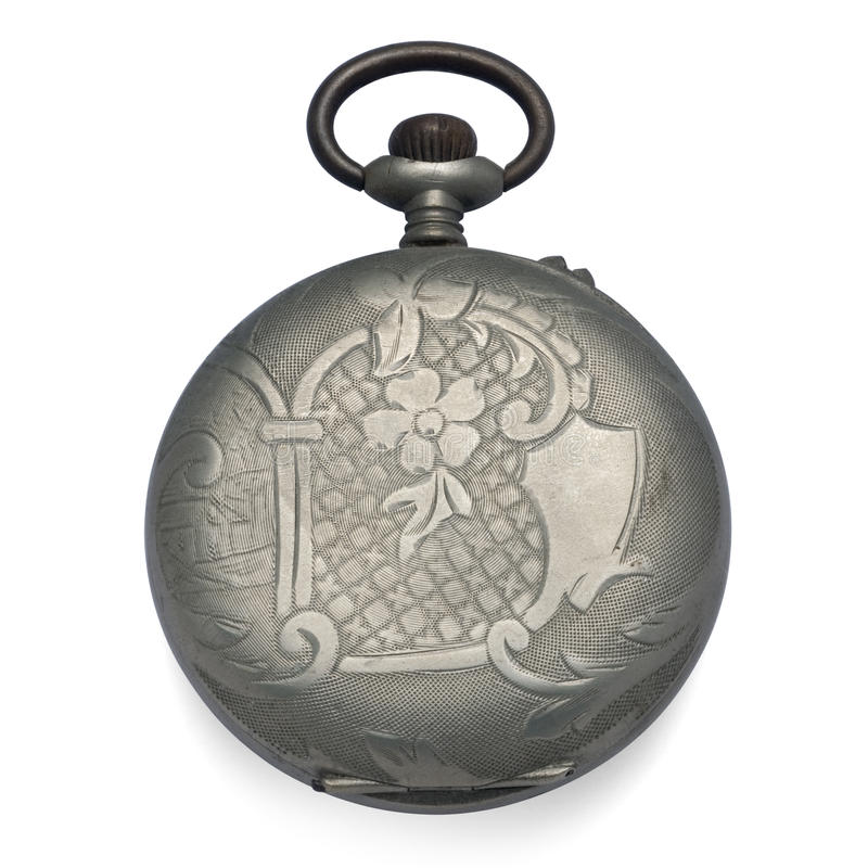 Back of an old pocket watch stock photography