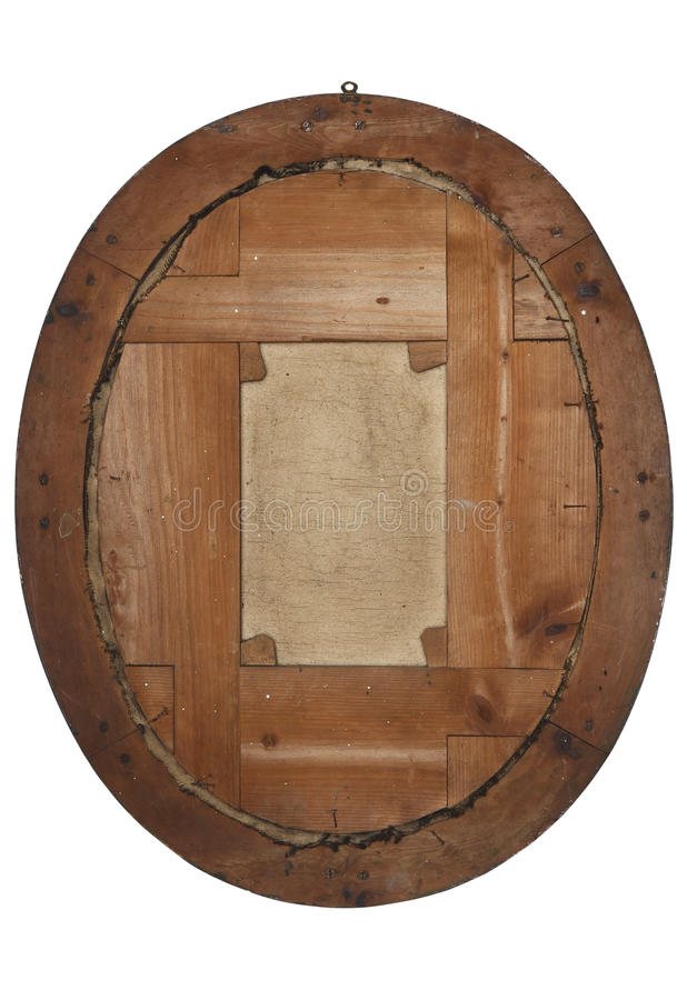 Back of old wooden picture frame on white stock photography