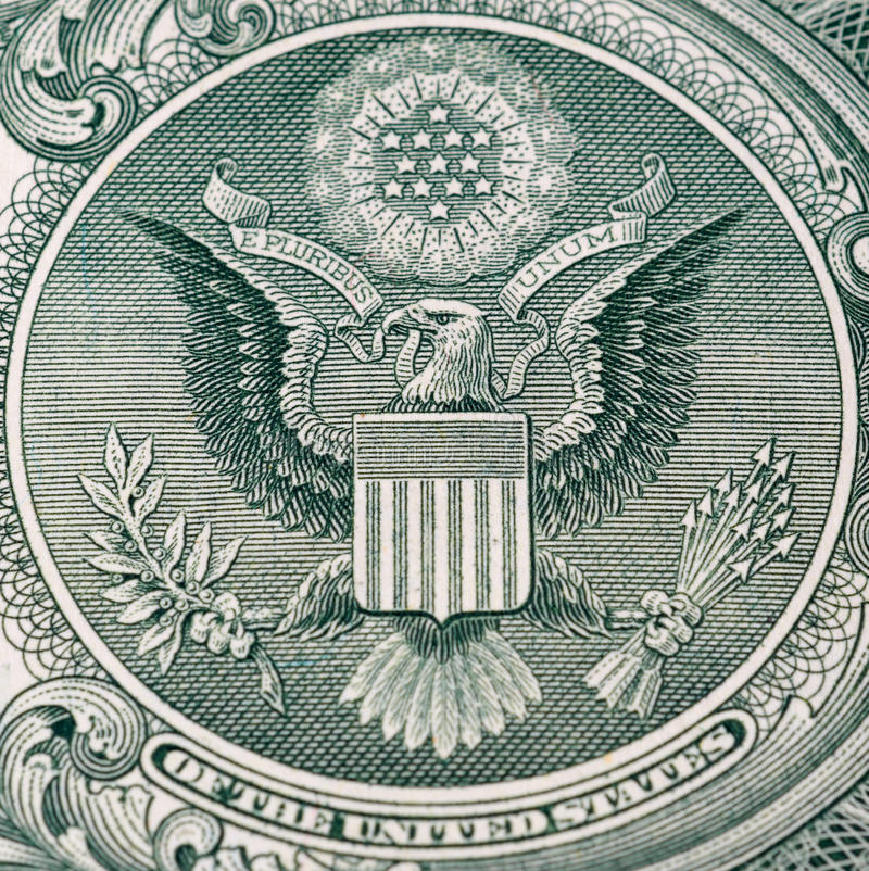 One dollar detail. Back of one dollar bill of a background stock photography