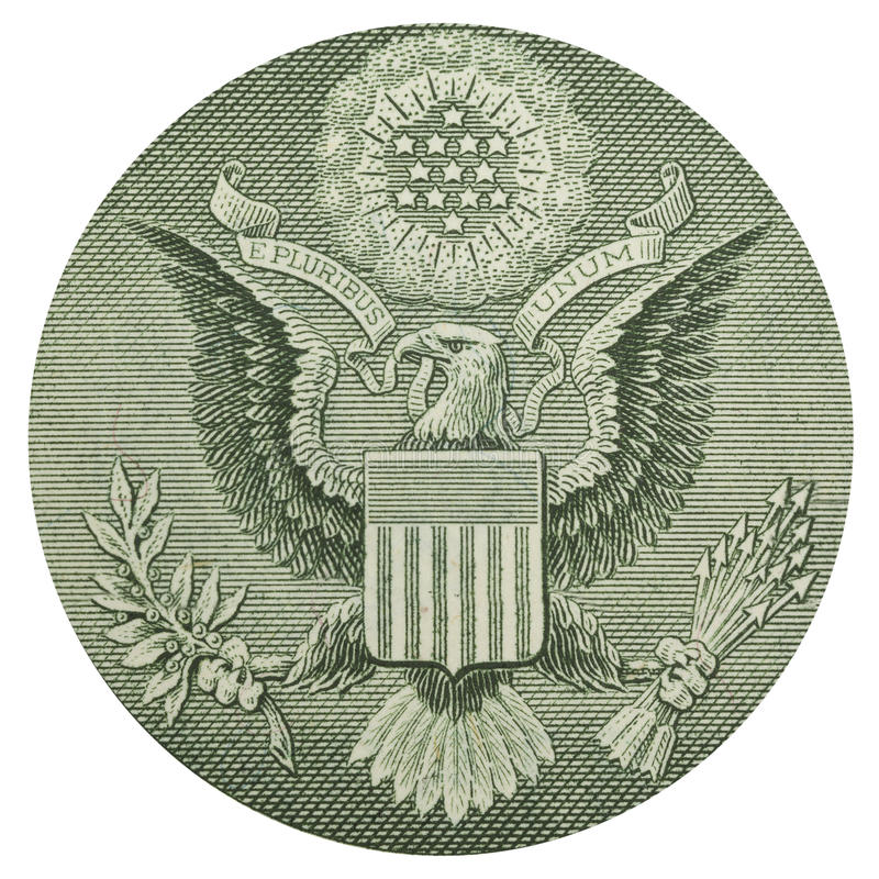 Back of one dollar bill. Dollar eagle banknote close up stock photography