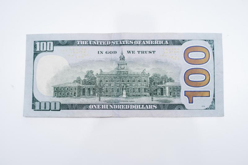 The back of a One hundred dollar bill. stock photos