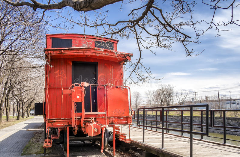 Back of Orange Caboose train stock photos
