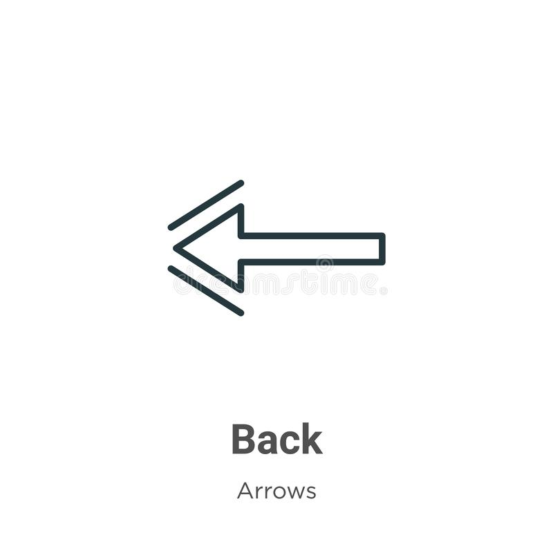 Back outline vector icon. Thin line black back icon, flat vector simple element illustration from editable arrows concept isolated stock illustration