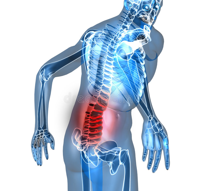 Back pain. Man suffering badly of back pain, 3D generated stock illustration