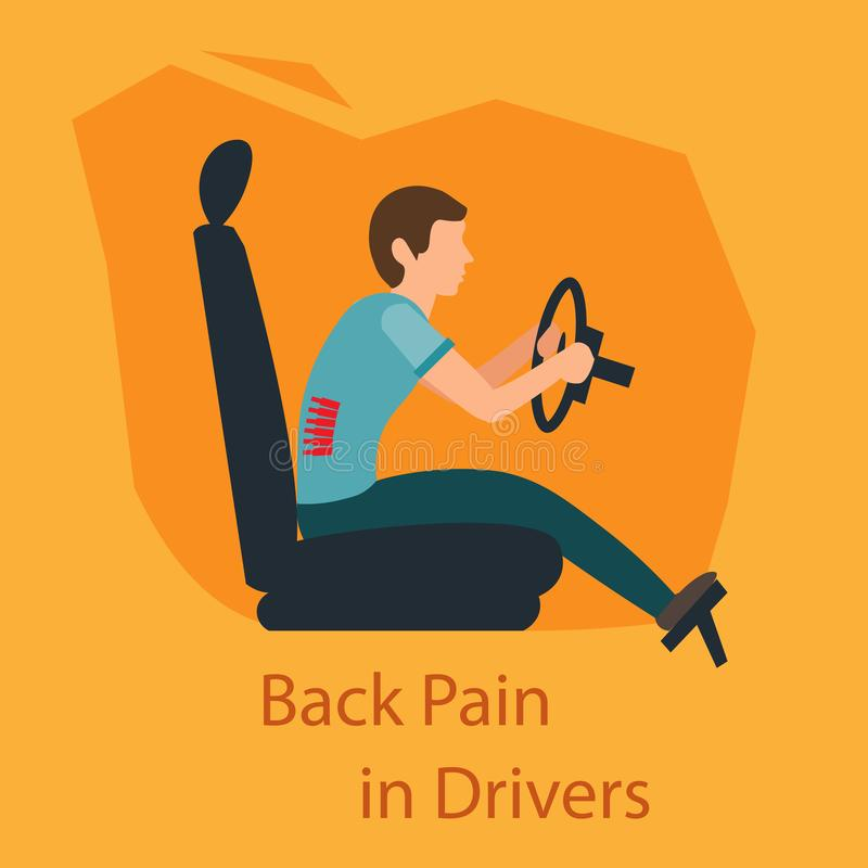 Back Pain in Drivers. Vector Illustration. vector illustration