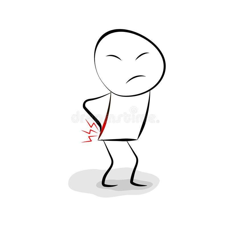 Free Back Pain Line Character. Vector Illustration Stock Photography - 129116112