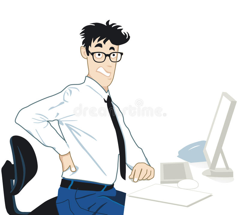Back pain in the office stock illustration