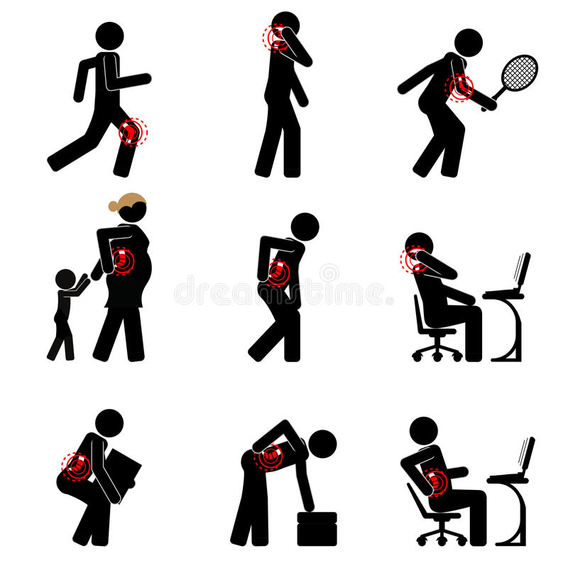 Back pain and other common joints problems. Pictogram collection of back pain, neck pain, knee pain and elbow pain royalty free illustration