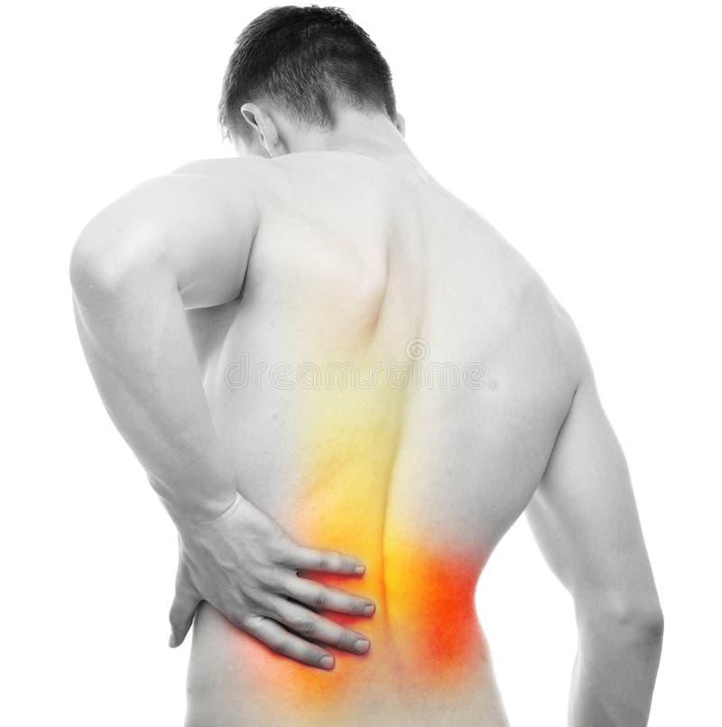 Back Pain - Studio shot isolated on white stock photos