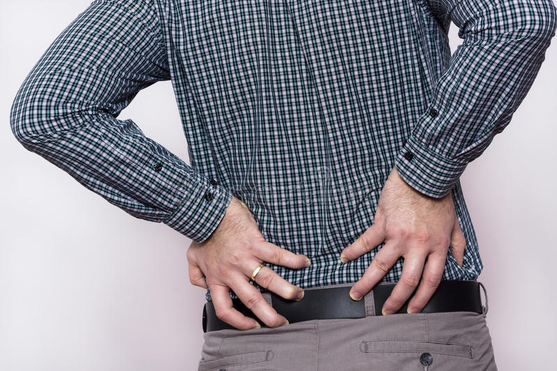 Back pain. royalty free stock photography