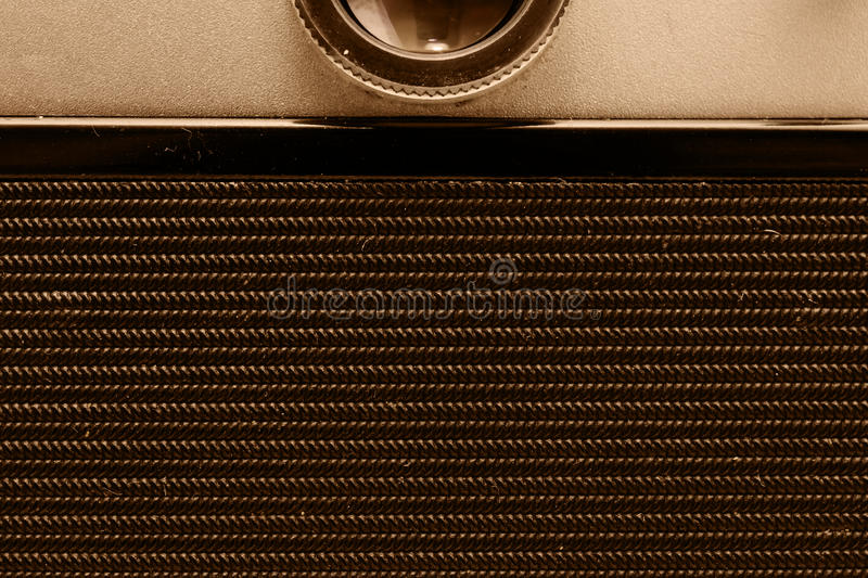 Back part of the film camera. Close-up view. Macro. Vintage photo. stock image