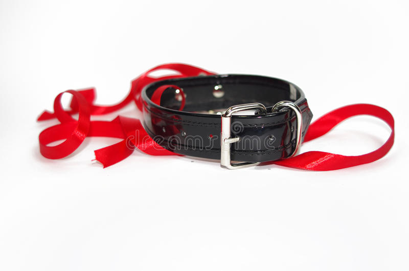Back patent collar with O ring and red ribbon.  stock images