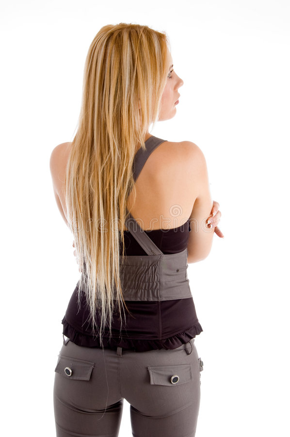 Back pose of blond woman stock photo