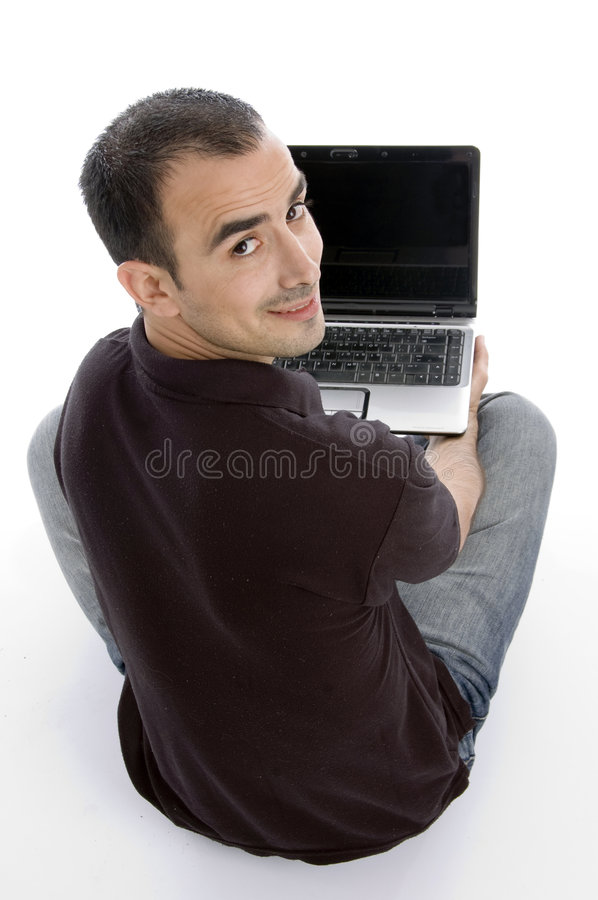 Back pose of man with notebook royalty free stock images