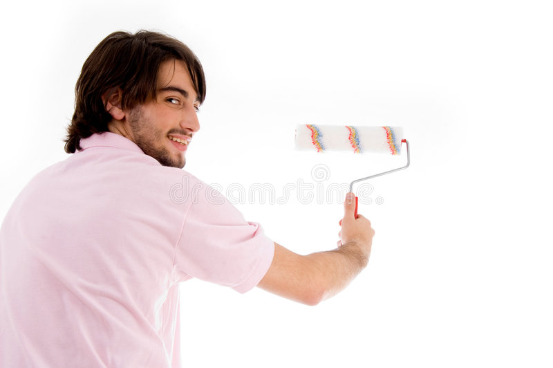 Download Back Pose Of Man With Paint Roller Stock Image - Image: 7419793