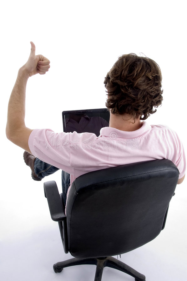 Download Back Pose Of Man Wishing Goodluck Stock Image - Image: 6989229
