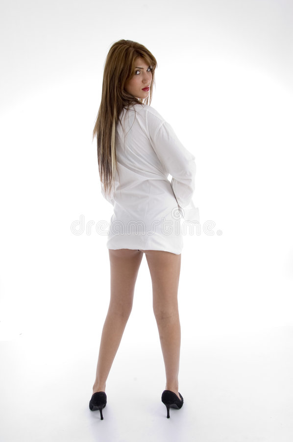 Back pose of sensual woman royalty free stock photography