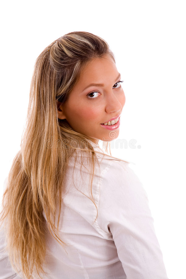 Back pose of smiling manager looking at camera stock photos