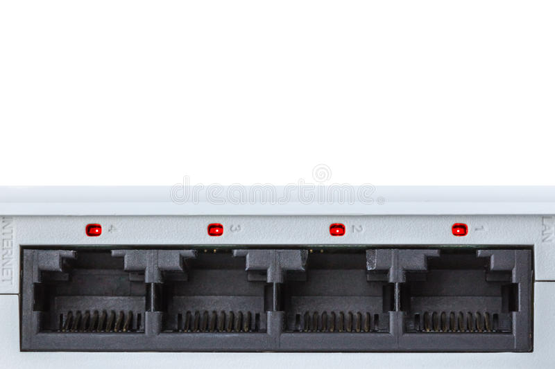 Back of a router closeup all red. Back of a router closeup with 4 ports and red lights on internet security concept royalty free stock images