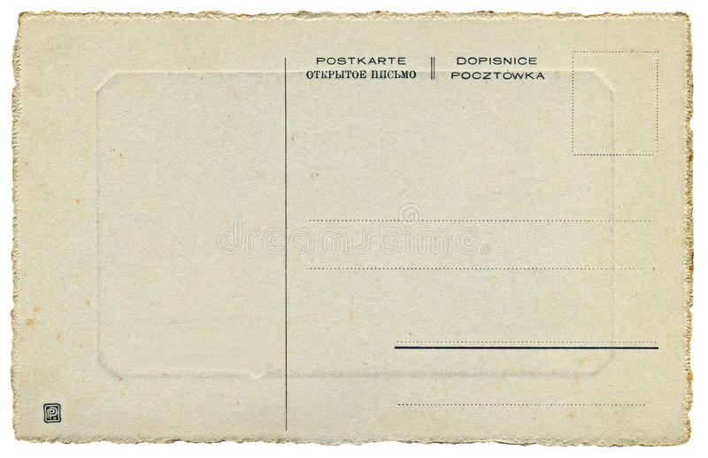 The Back Of Russian Vintage Postcard Stock Image