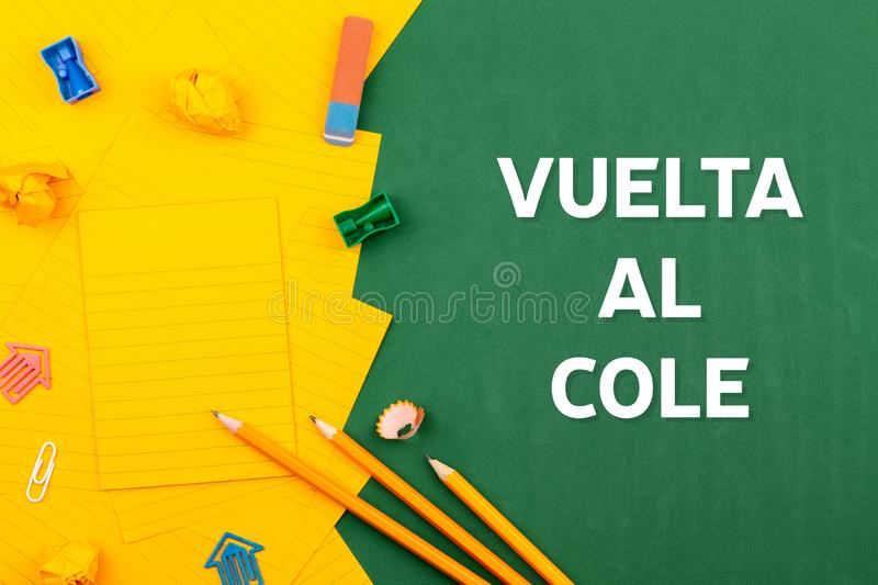 Back school stationery spanish, great design for any purposes. Copy space, top view.  stock images