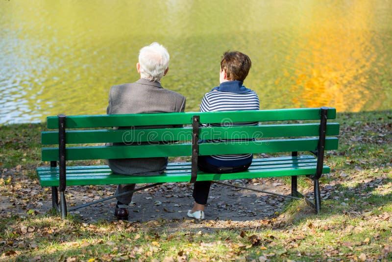 Back of senior couple royalty free stock image