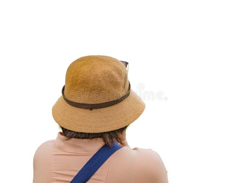 Back of Senior women traveler on isolated. Back of Senior woman traveler on isolated background royalty free stock image