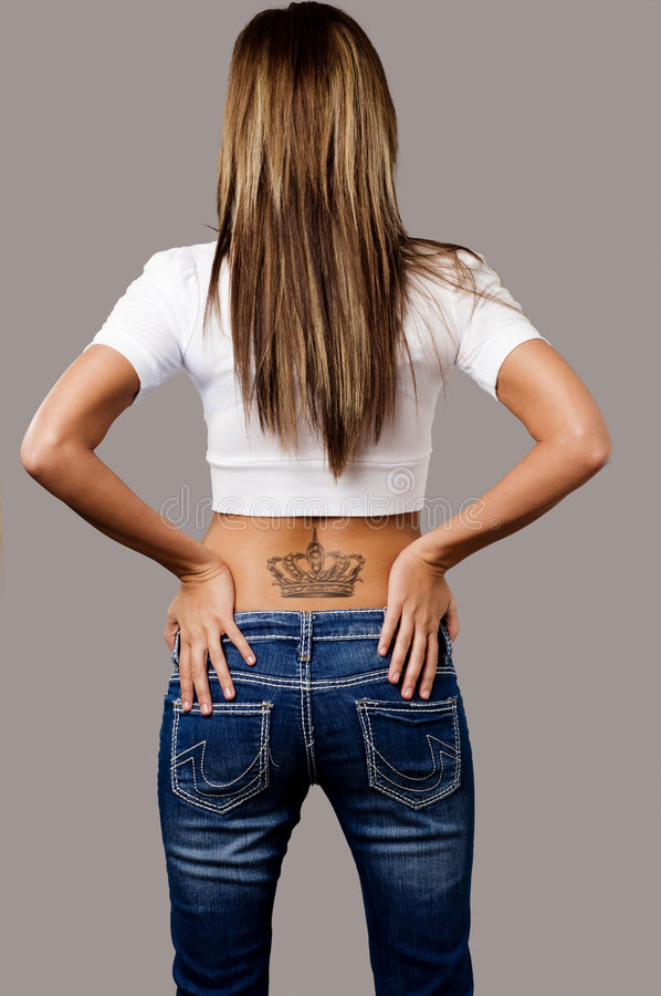 Back of young woman stock photography