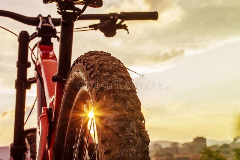 Back shot of mountain bike on sunset . Rear wheel. Mountain bike tire. Tires 27,5 inch MTB Bicycle component. royalty free stock photography