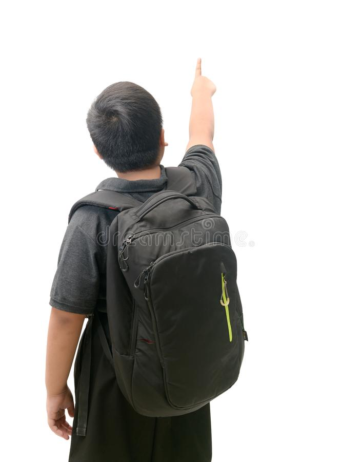 Back side of asian student pointing finger stock images