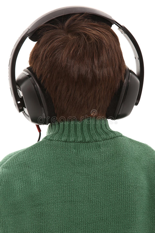 Back Side Child with HEadphones. Child Wearing Head phones With Back Turned With Clipping Path royalty free stock image