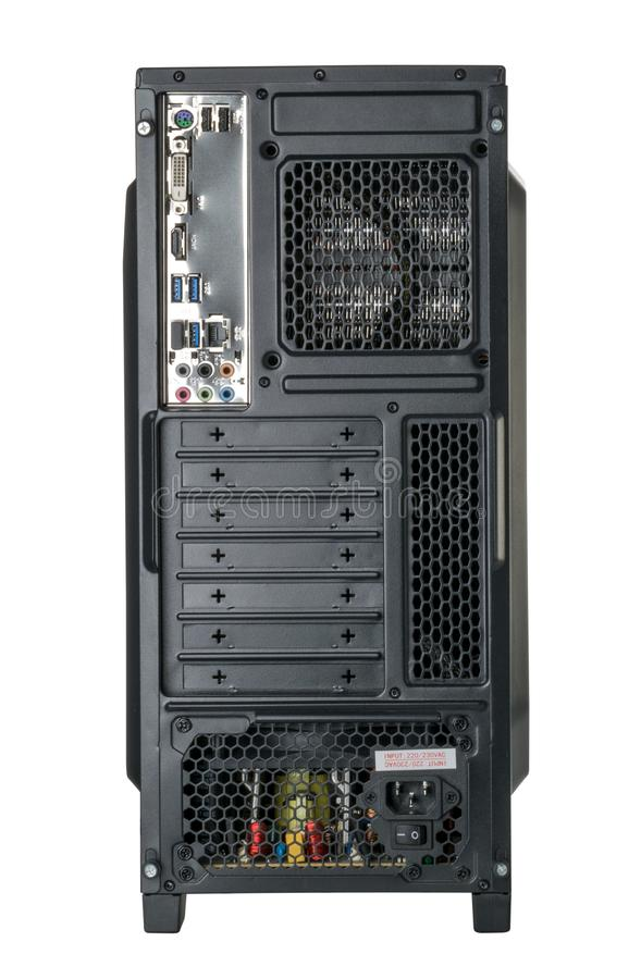 Back side computer system unit isolated clipping path stock photography