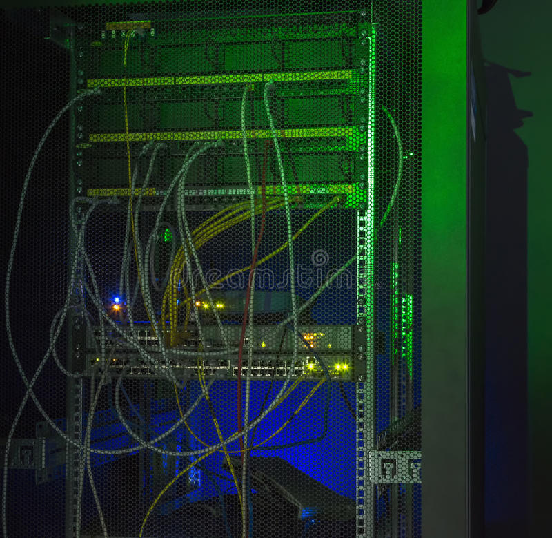 Back side Data center colored LED lighting. royalty free stock photography