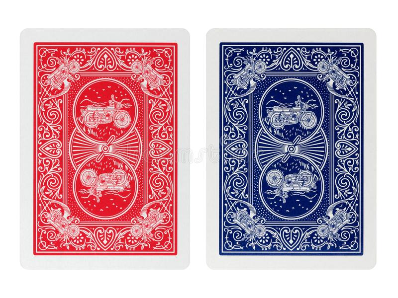 Back side poker playing cards isolated. On white royalty free stock images