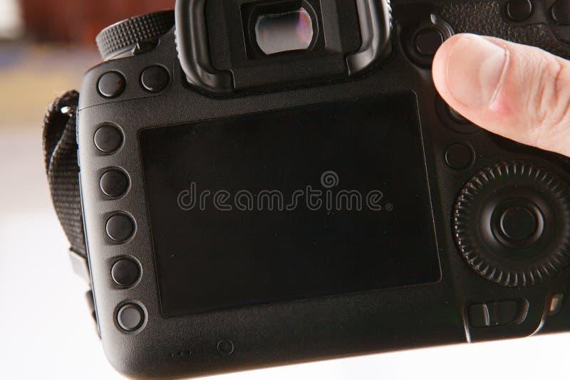 Back side of professional dslr digital photo camera royalty free stock image