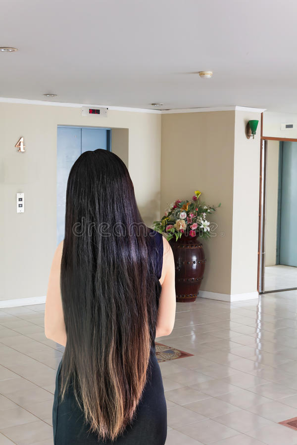 Back side or rare view of black and coloured dry long hair women royalty free stock photos
