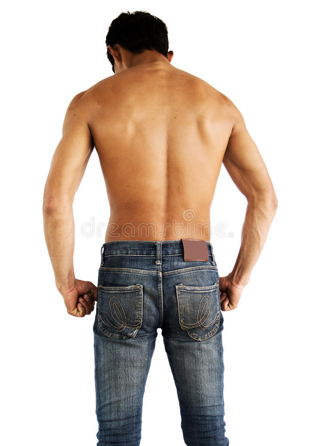 Back side of muscular shirtless male model stock photo