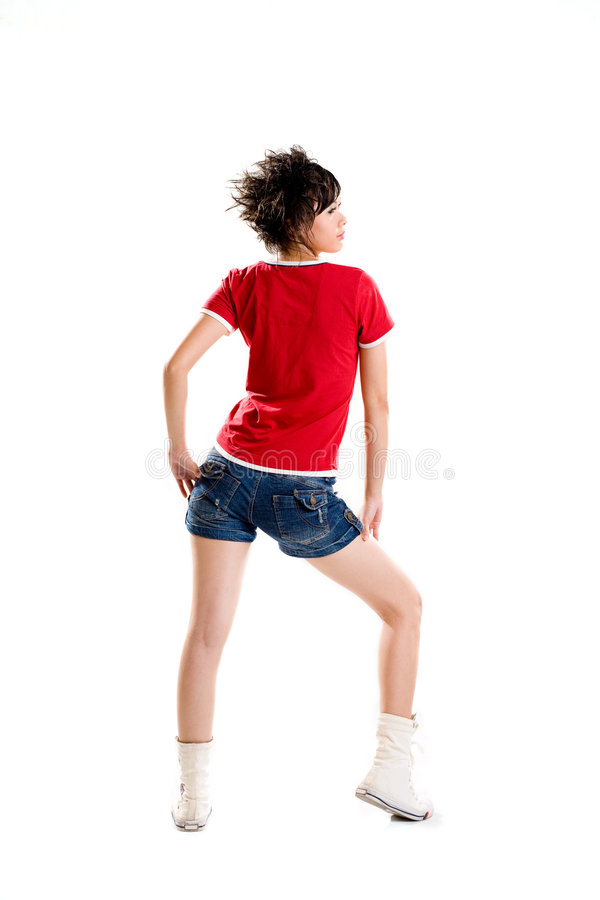Back side of a teenager girl stock images