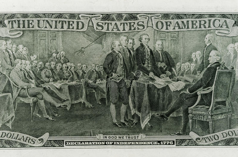 Declaration of Independence. The signing of the Declaration of Independence on the back side of a two dollar bill royalty free stock photo