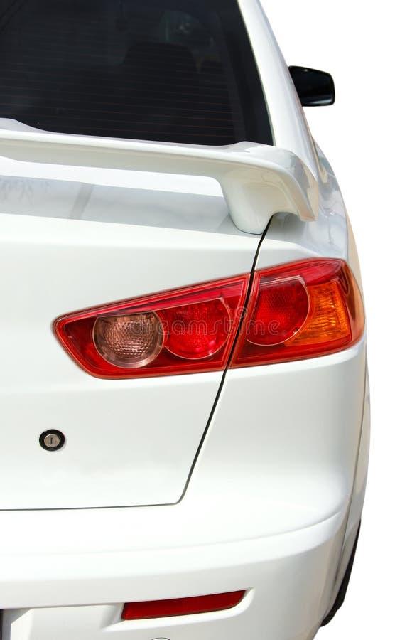 Back side of white sport car stock image