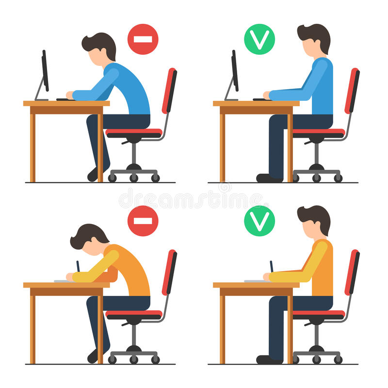 Back sitting position. Correct and Incorrect back sitting position. Good and bad position spin. Vector illustration in flat style isolated for white background royalty free illustration