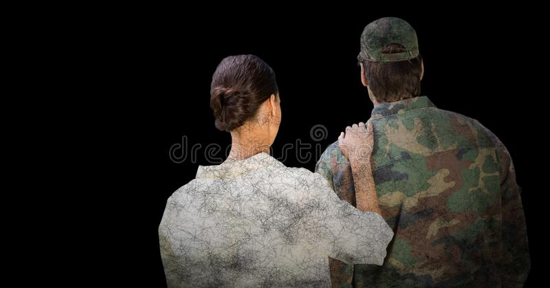 Back of soldier and wife against black background with grunge overlay royalty free stock images