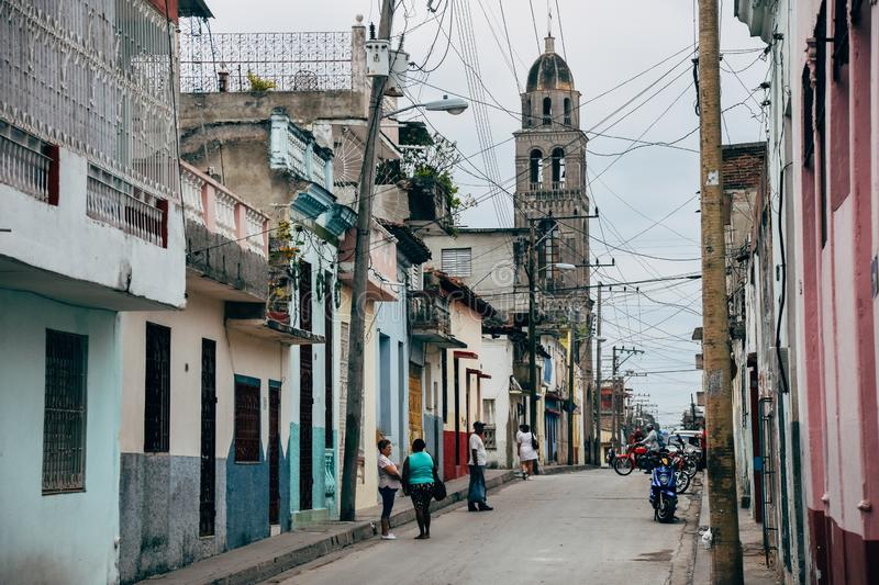 A back street in Santa Clara, Cuba. stock photo