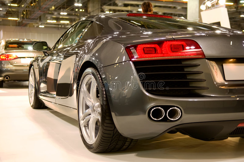 Back of supercar royalty free stock photo
