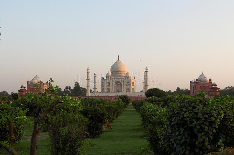 The back of the taj mahal at sunset royalty free stock photography