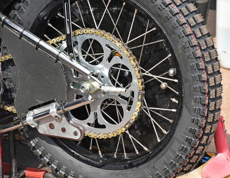 Back tire of a speedway bike. In summer royalty free stock photo