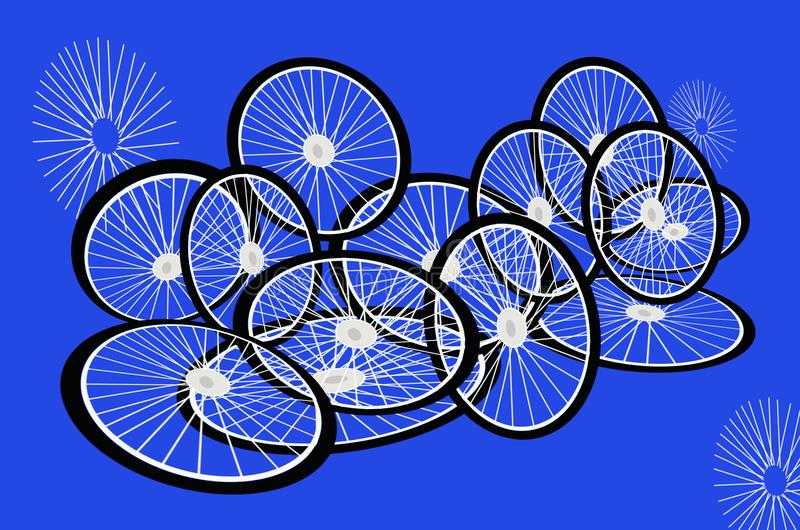 Back tires and white rims with spokes of bicycle. On fresh blue background vector illustration