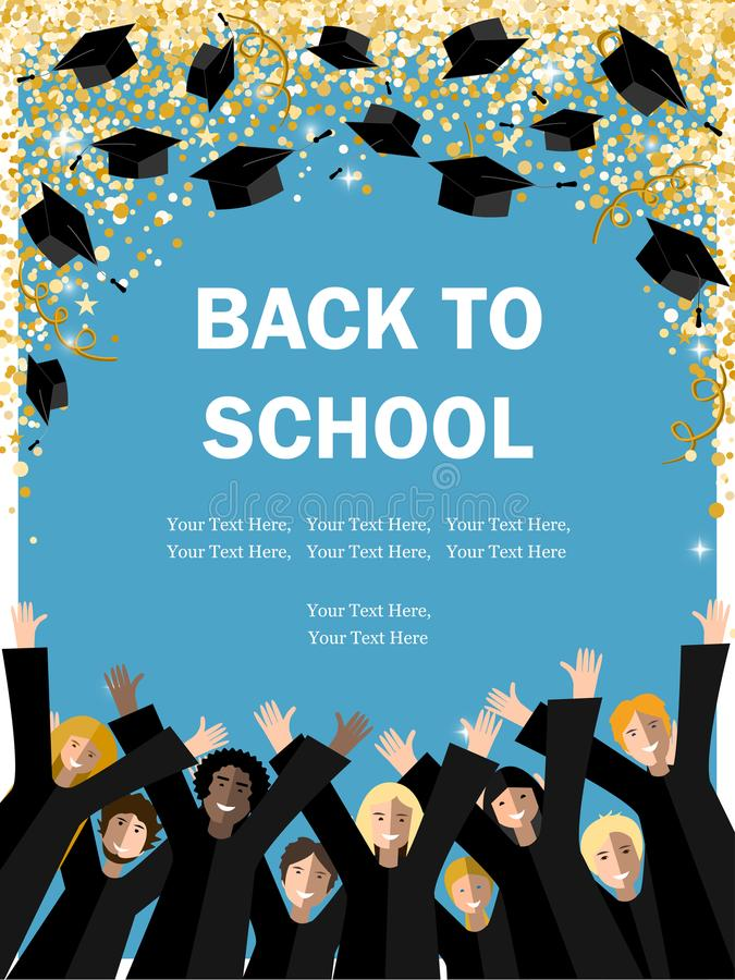 Back to academic School background. Back to School poster with happy student throwing graduation hats in the gold confetti sky. Vector illustration for the royalty free illustration